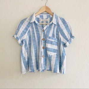 Free People Away At Sea Cotton Blend Shirt SZ S